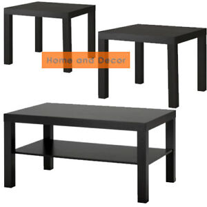New Set of IKEA Lack 1 Coffee and 2 Side Table Black- Brown Multi-Use Modern