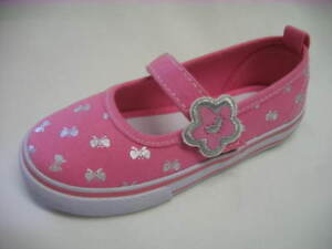 Chicas scuffles Marca Rosa Con Plata Mariposa de impresión Lona Shoe-Rosie Reino Unido 4-9