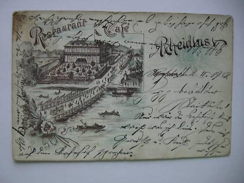 AK Restaurant Cafe Rheinlust Strassburg 1902