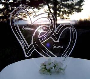 Personalised engraved wedding cake toppers with crystals monogram