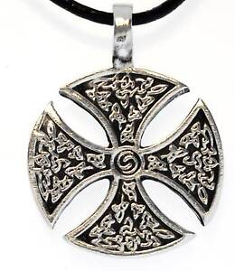 IRON-CROSS-Silver-Pewter-Pendant-Leather-Necklace