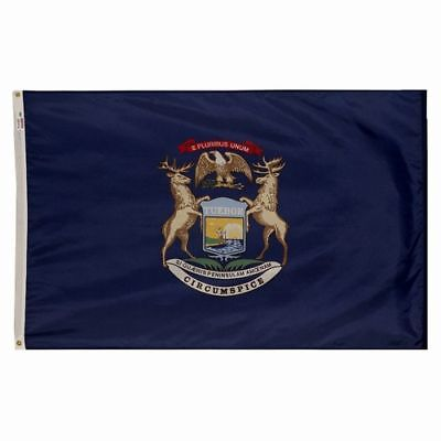 Michigan Wolverine State Official State Flag 3x5 Ft Outdoor Nylon Made In Usa