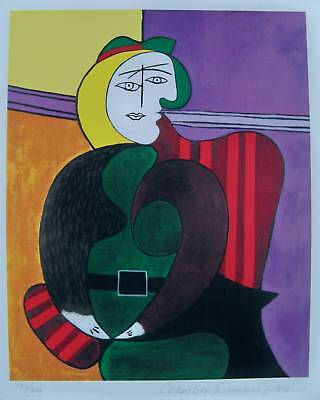 Pablo Picasso Estate Signed Small Giclee WOMAN IN RED ARMCHAIR