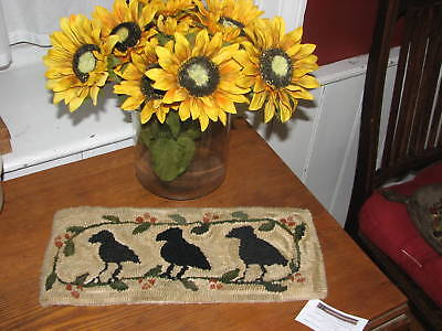 Primitive Rug Hooking Kit On Linen 3 Crows In The Bittersweet