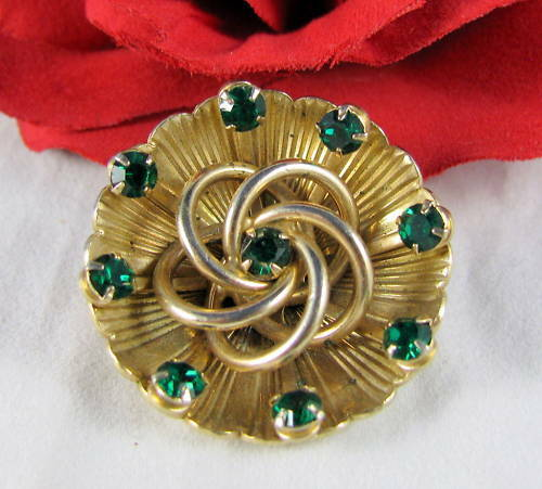 Vintage Emerald Green Rhinestone Knot Pin CAT RESCUE