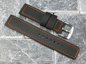 24mm-Black-Rubber-Diver-Strap-Watch-Band-LUMINOR-Maratac-ORANGE-Stitch