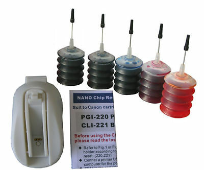Chip Resetter For Canon Pgi-220/cli-221+ Ink Kit 5x30ml