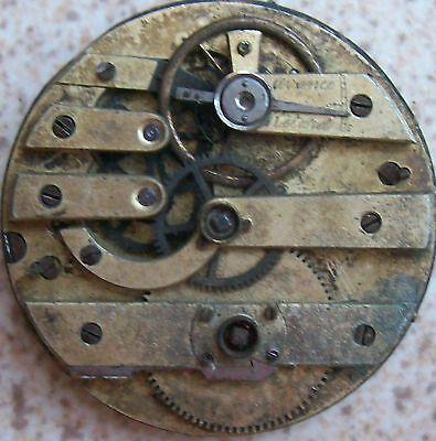 Old Pocket watch movement & Enamel Dial Key Wind 44,5 mm. in diameter