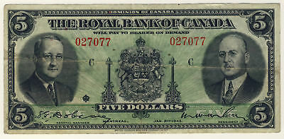 1943 Royal Bank Of Canada   5 Five Dollars Last Issued