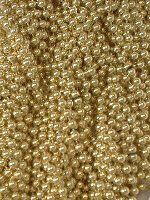 12 Gold Mardi Gras Beads Necklaces Party Favors Metallic 1 Dozen Lot