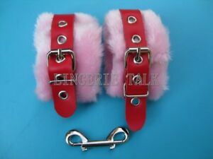 Red-Pink-Leather-Fur-Hand-Restraint-Soft-Cuffs-H839