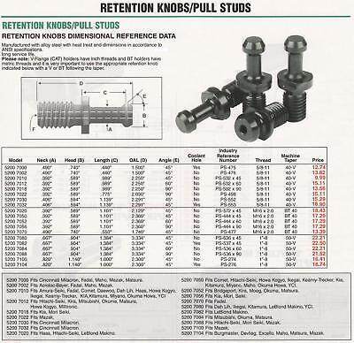 10pc BT40 RETENTION KNOBS PS-444x45 PULL STUDS