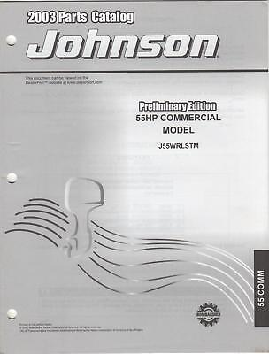 2003 Johnson Outboard 55hp Commercial Parts Catalog