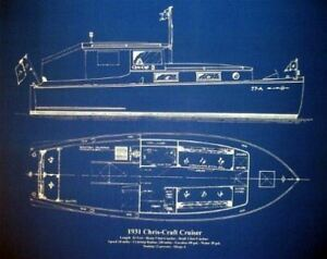 Vintage-Chris-Craft-Boat-Yacht-1931-Blueprint-Plan-18x24