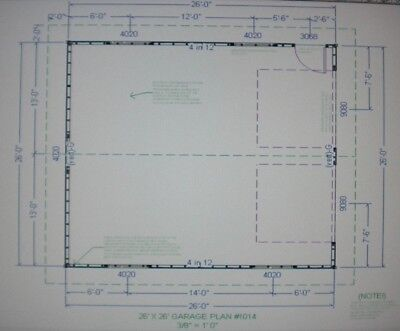 26 39 x 26 39 garage shop plans materials list blueprints ebay