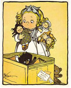Little-Girl-Campbell-Kids-Grace-Drayton-Toy-Chest-Golliwog-Dolls-Bear-Postcard