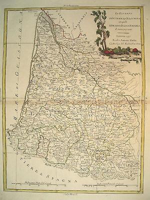 1776 Genuine Antique Hand Colored Map SW coast France. Elegant Cartouche. Zatta