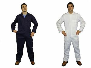 NEW-Quality-100-Cotton-Boilersuit-Overalls-Coverall-Navy-or-White-34-62-Chest