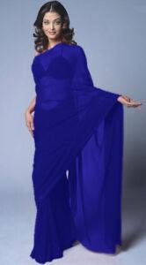 Royal Blue Bollywood Wedding Chiffon Party Wear Saree Sari Belly Dance 19 Color