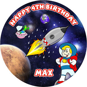 Personalised Space Rocket Edible Icing Cake Topper | eBay