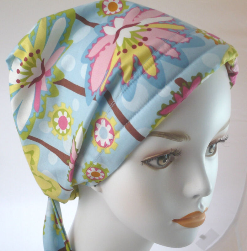 Fun Blue Floral Cancer Hat Chemo Hairloss Scarf Turban Fitted Padded Headwrap