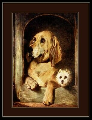 English Picture Poster Print Bloodhound Cairn Terrier Dog Dogs Puppy Art