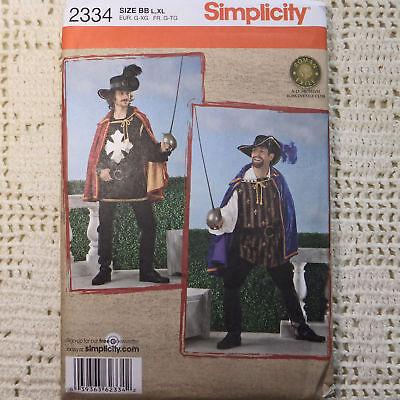 Simplicity 2334 Men's 3 Muskateers Costume Pattern L-XL