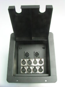 Recessed floor box 8 xlr 2 speakon black powder coat ebay for Xlr floor box