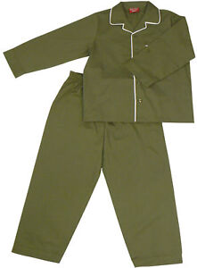 PYJAMA-SUIT-SLEEPWEAR-100-COTTON-7-10-YRS-OLIVE-GREEN-WITH-WHITE-PIPING