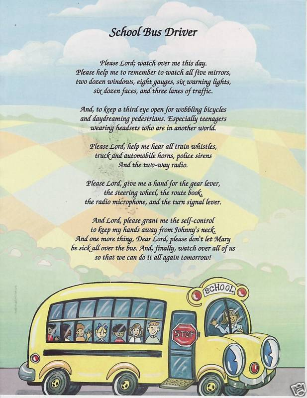 Details about SCHOOL BUS DRIVER Poem Prayer Personalized Name Print