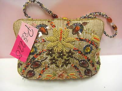 Y&s Prezzo Handbag Pocketbook Beige Brown Bead 3079-n