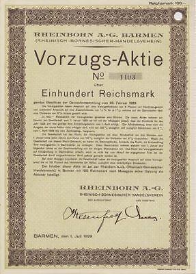 RHEINBORN AG Barmen Vorzugsaktie 1929 Wuppertal Wesenfeld Bergisches Land Köln .