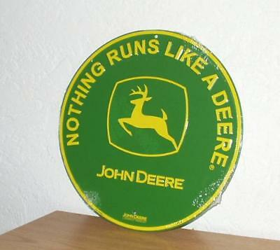 "John Deere Metal Circle Signs Nothing Runs Like A Deere  New 12 "" Diameter"