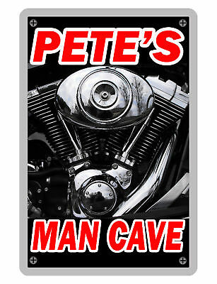 Personalized Man Cave Sign Printed With Your Name Custom Glossy Signs   Vtwin