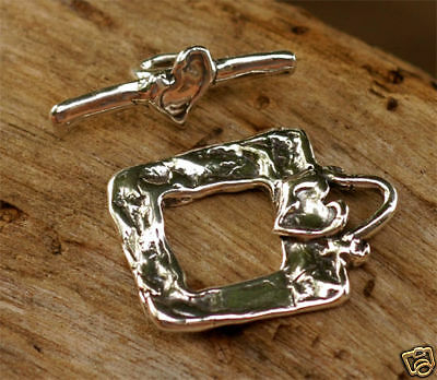 Handmade Rustic Sterling Silver Artisan Square HEART Toggle