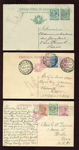 ITALY-1911-23-UPRATED-STATIONERY-USA-UK-PARIS-3-CARDS