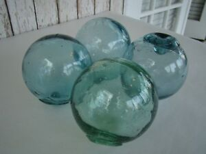 """(4) x 4"""" Authentic Japanese Glass Fishing Floats ~ Old Vintage Used Buoy"""