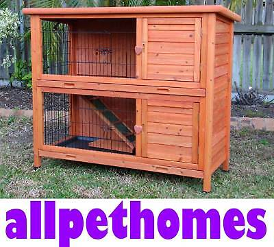 Rabbit Guinea Pig Hutch Cage DOUBLE Storey 2 Levels Metal Trays G104