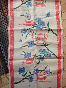 Antique-Linen-Towel-Fabric-BLUE-FLORAL-PINK-TEACUPS