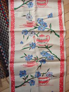 Antique-Linen-Towel-Fabric-BLUE-FLORAL-PINK-TEACUPS