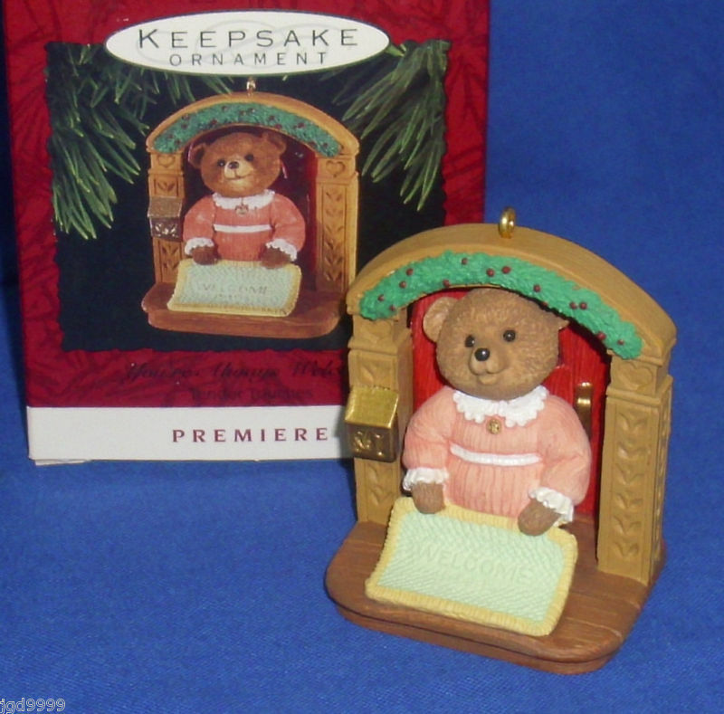 Hallmark Christmas Ornament Tender Touches You're Always Welcome Mat 1993 Bear