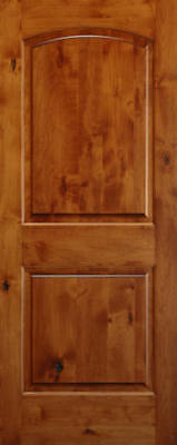 entry knotty alder 2 panel arch top solid wood stain grade door