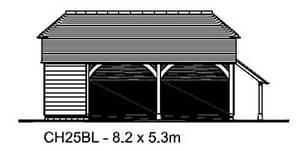 Ch25bl Oak Frame Garage Cart Lodge Building Kit 2 Bay