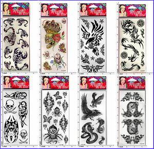TEMPORARY TATTOO SKULL TRIBAL COBRA EAGLE SCORPION ect