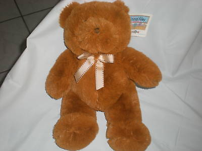 Animal Alley Tan Bear Brown Bow Plush Stitched
