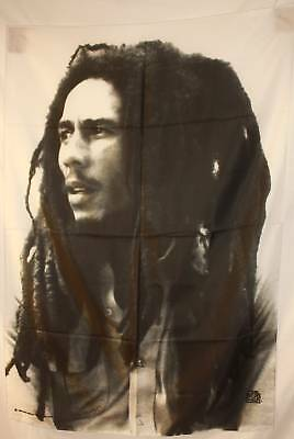 Bob Marley B/W Portrait Photo Cloth Textile Poster Flag Fabric Wall Banner-New