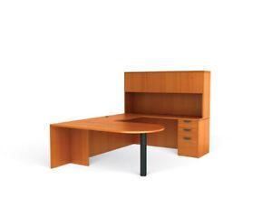 american cherry laminate u shape executive office furniture desk ebay. Black Bedroom Furniture Sets. Home Design Ideas