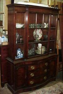Antique c1930s Drexel Mahogany Breakfront China Cabinet