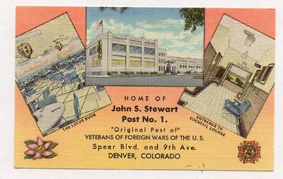 Denver Vfw Post No 1 Old Unused Linen Postcard Pc5092
