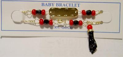 14k Gold Baby 'azabache' Rectangle Bracelet-free Shipping